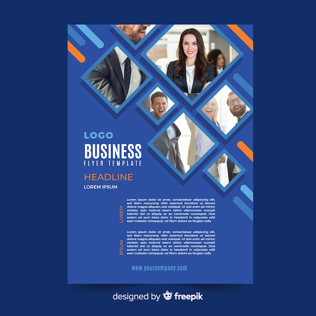 Blue mosaic business flyer template Free Vector