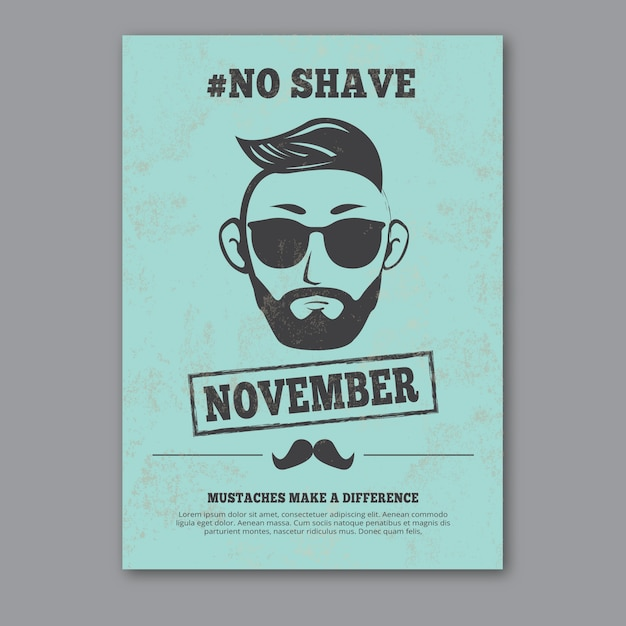 Blue movember poster in vintage style Free Vector