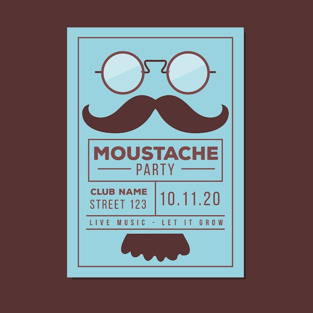 Blue movember poster with glasses