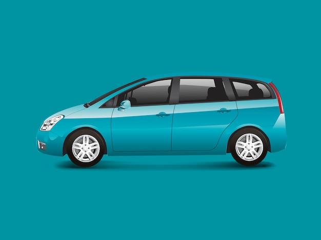 Blue mpv minivan automobile vector Free Vector