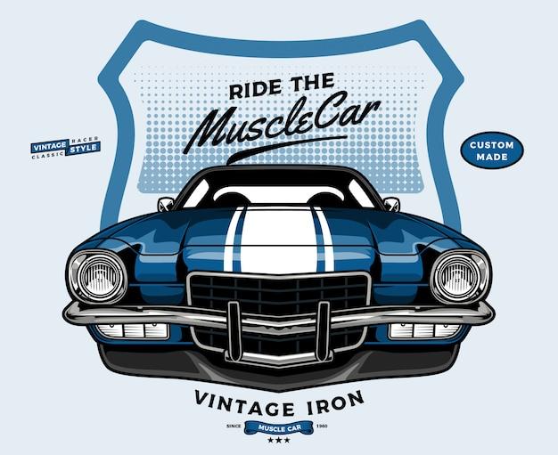 Blue muscle car front view Premium Vector