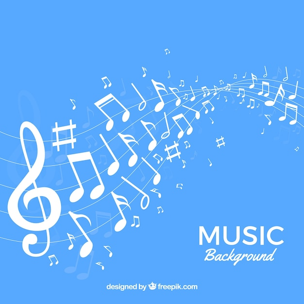 blue musical notes background vector free download
