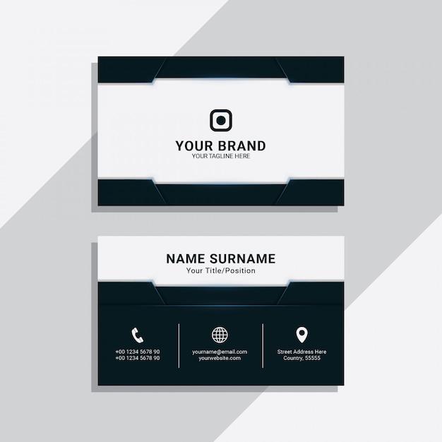 Blue navy geometric corporate business card template Premium Vector