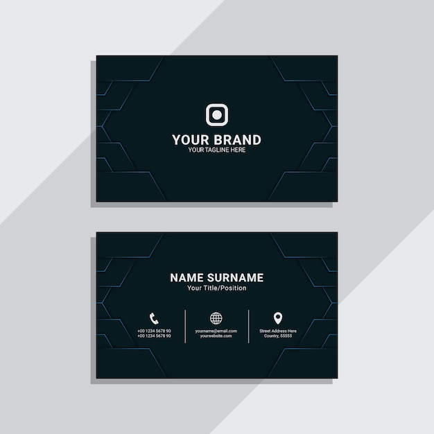 Blue navy geometric corporate business card template Premium Vector
