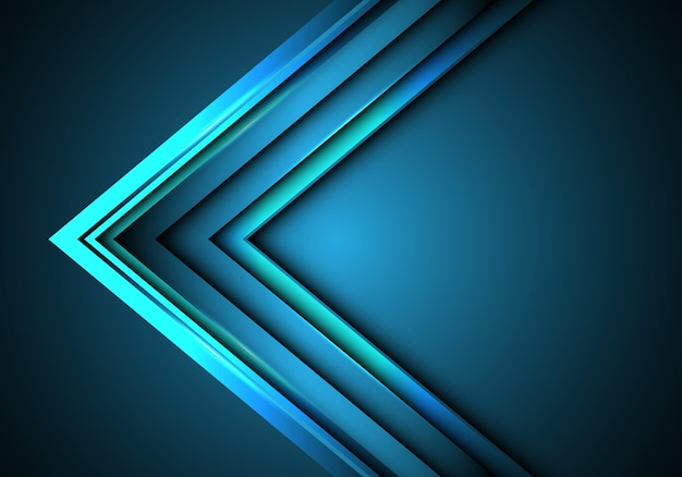 Blue neon arrow speed direction on blank space background. Premium Vector