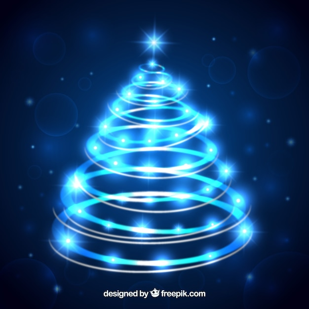 Blue neon christmas tree