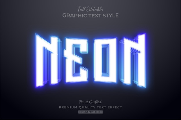 Blue neon editable text effect Premium Vector