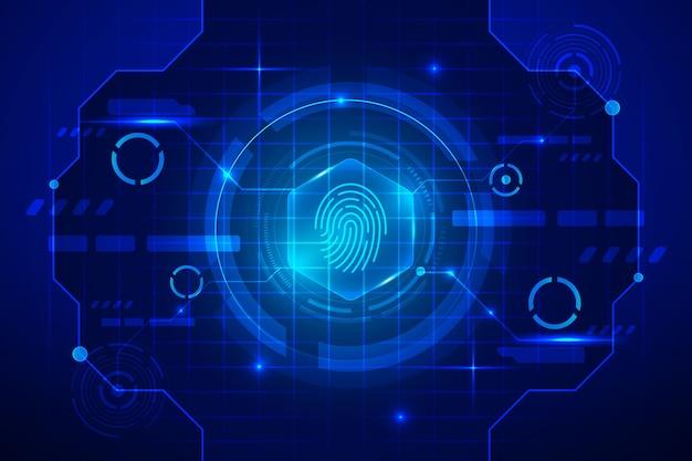 Blue neon fingerprint background Free Vector