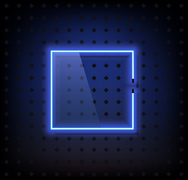Blue neon frame lamp vector with glass Premium Vector