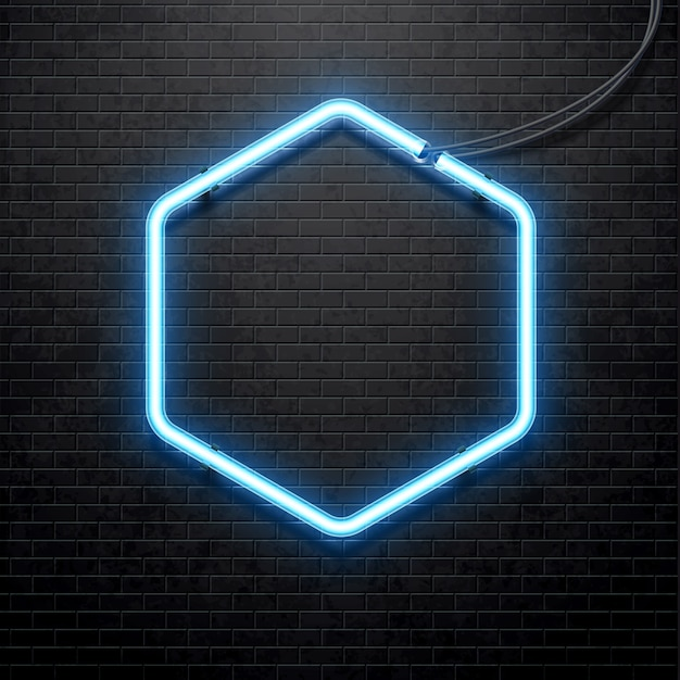 blue neon lamp isolated on black brick wall Premium Vector