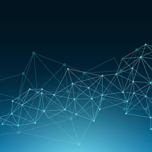 Blue neural network illustration Free Vector