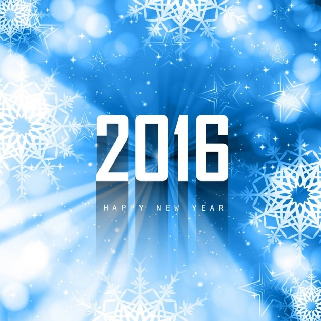Blue new year 2016 background with snowflakes Free Vector