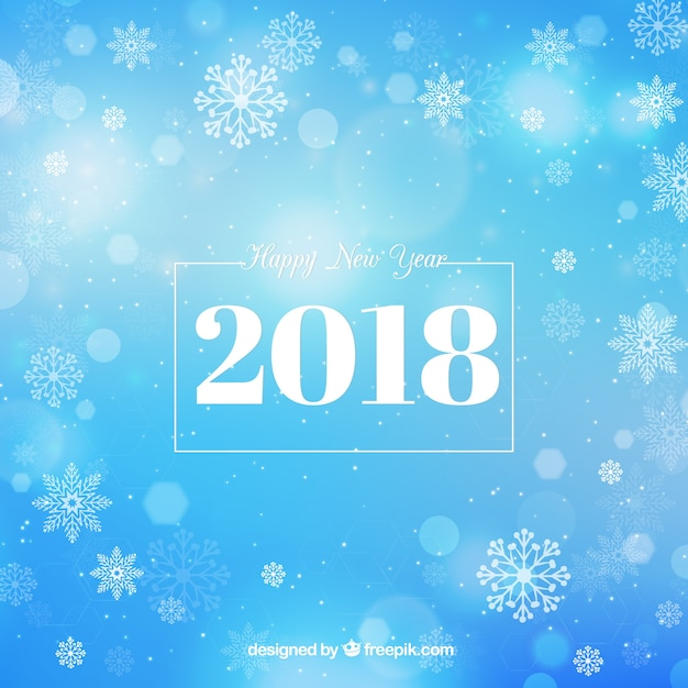 Blue new year background with bokeh\ effect