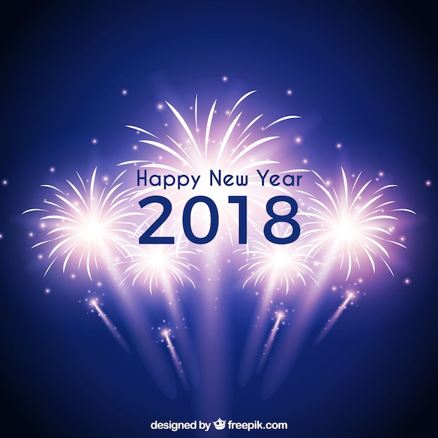 Blue new year background with fireworks Free Vector