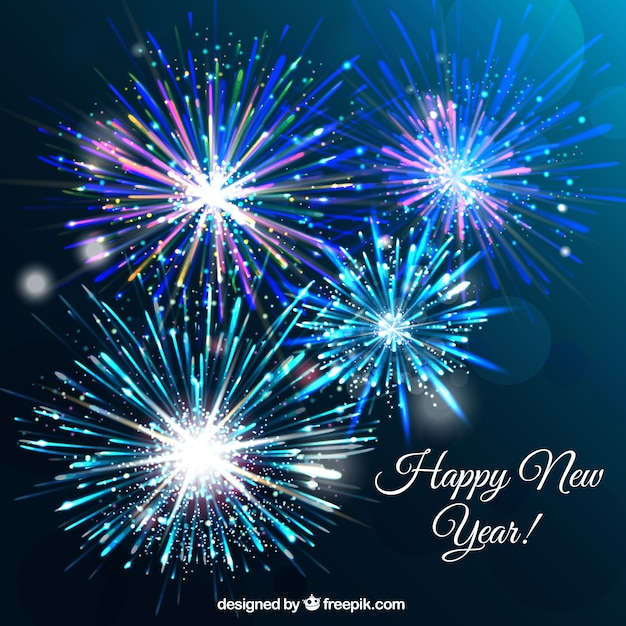 blue new year fireworks background vector free download