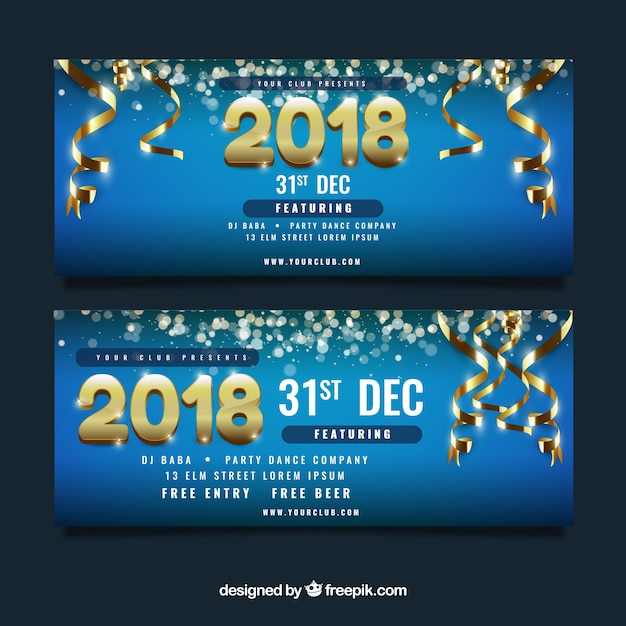 blue new year party banner with golden decorations free vector