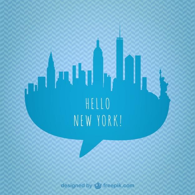 Blue new york skyline Free Vector