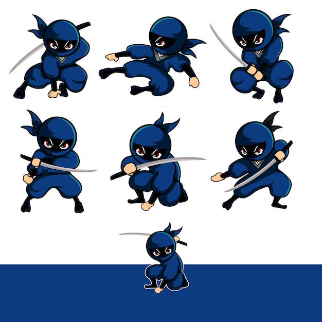 Blue ninja with seven different font Premium Vector