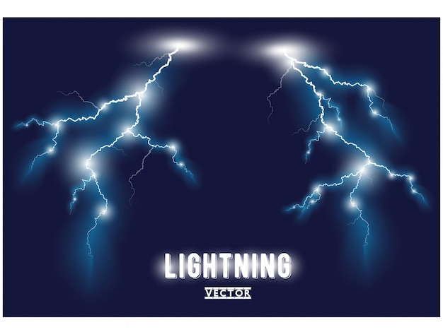 Blue oblique branchy lightning lines. . Premium Vector
