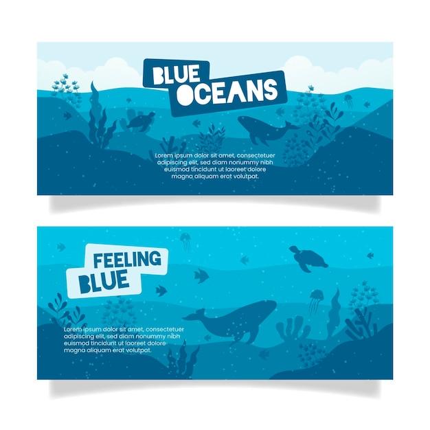 Banner ristorante oceano blu Vettore gratuito