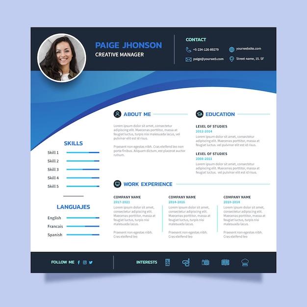 Curriculum vitae online blu Vettore gratuito