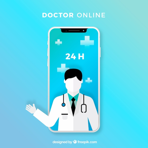 Blue online doctor design with smartphone Free Vector