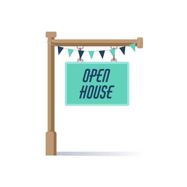 Голубой знак открытого дома Бесплатные векторы