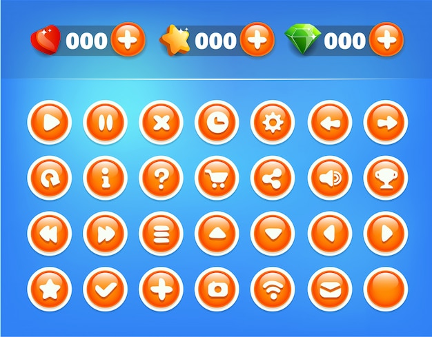 Blue orange buttons game ui kit Vector | Premium Download