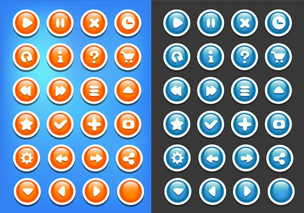Blue orange buttons game ui kit Premium Vector