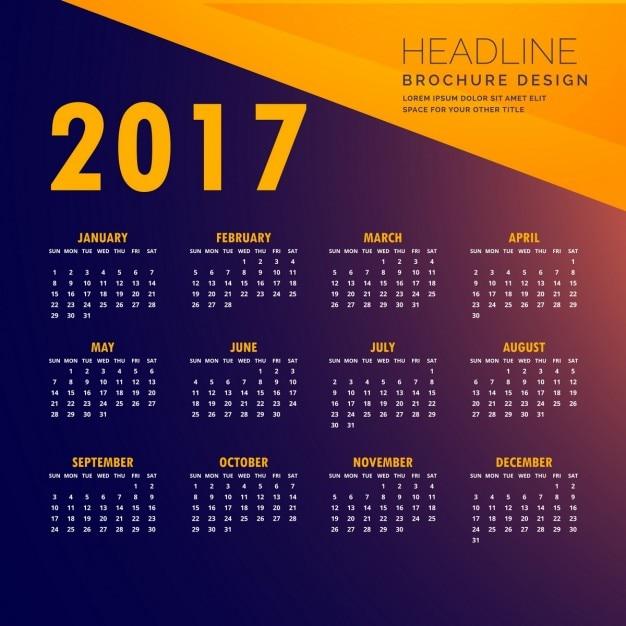 Blue and orange calendar Free Vector