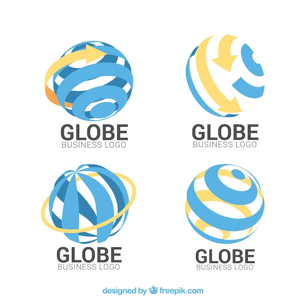 Blue and orange globe logo collection Free Vector
