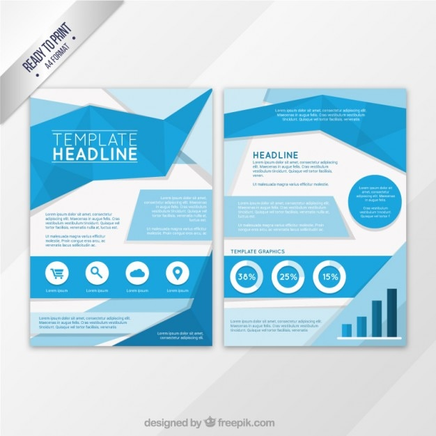 Captivating Blue Origami Flyer Template Free Vector Gallery