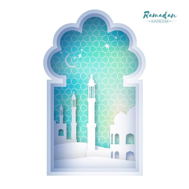 Blue origami mosque window ramadan kareem greeting card with arabic arabesque geometric. holy month of muslim. symbol of islam. Premium Vector