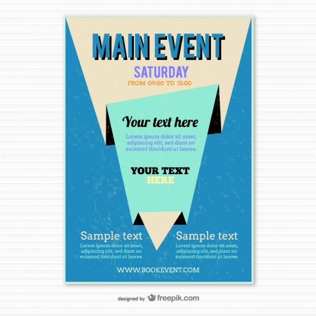 Blue origami poster template Vector | Free Download