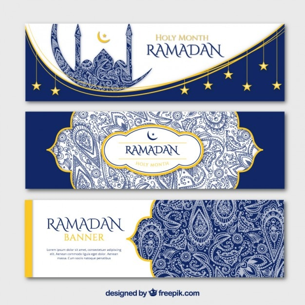 Blue ornamental ramadan banners with golden details Premium Vector