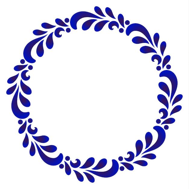 Blue ornamental round frame with leave Premium Vector