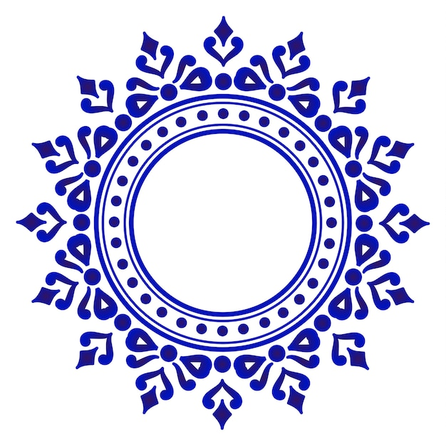 Blue ornamental round Premium Vector