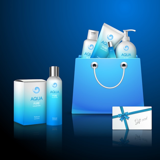 Blue packages cosmetics set Free Vector