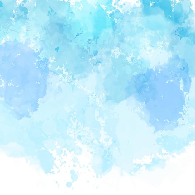 詳細な水彩画のテクスチャと青い塗られた背景 無料ベクター