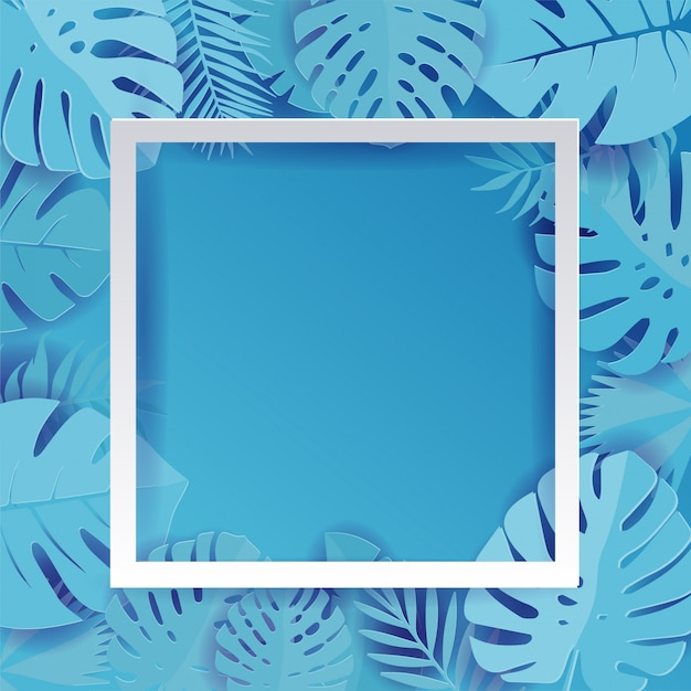 Blue palm leaf vector background illustration in paper cut style. exotic tropical jungle rainforest bright cyan palm tree and monstera leaves border frame Premium Vector