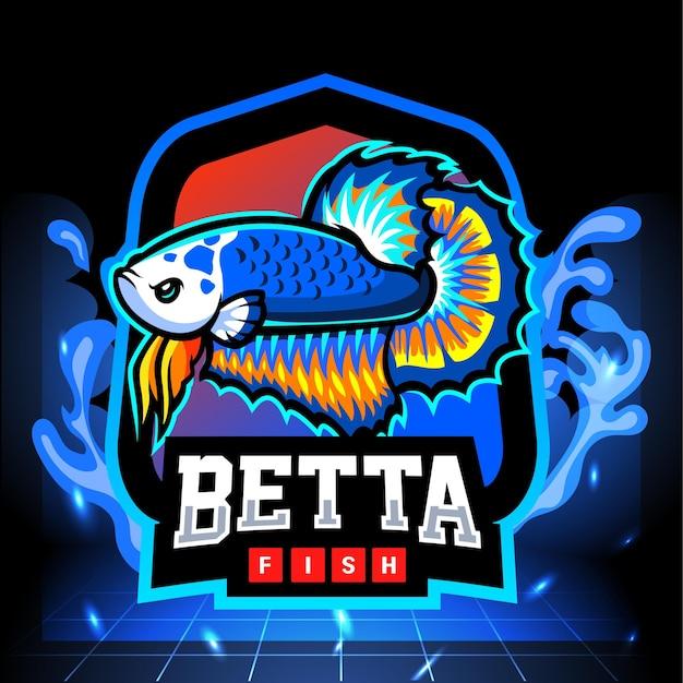 ブルーパンダベタの魚のマスコット。 eスポーツロゴデザイン Premiumベクター
