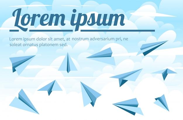 青い紙飛行機。上空の背景のイラスト。雲のイラスト Premiumベクター