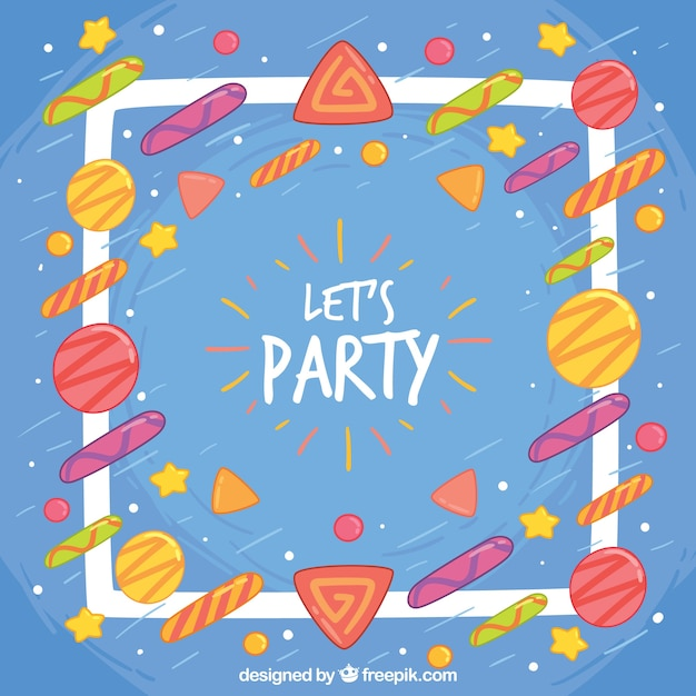 Blue party background with colorful geometric shapes ...