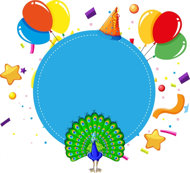 Blue peacock birthday card background copyspace Free Vector