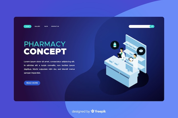 Blue pharmacy landing page Free Vector