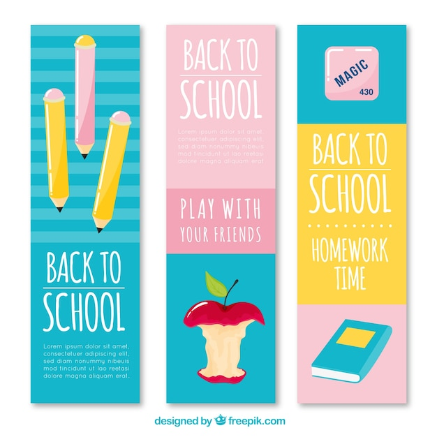 Blue, pink and yellow back to school banners