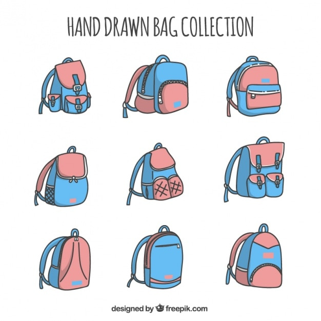 Blue and pink backpacks collection Free Vector