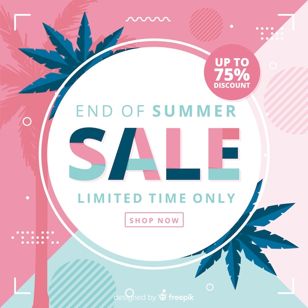 Blue and pink end of summer sales background Free Vector