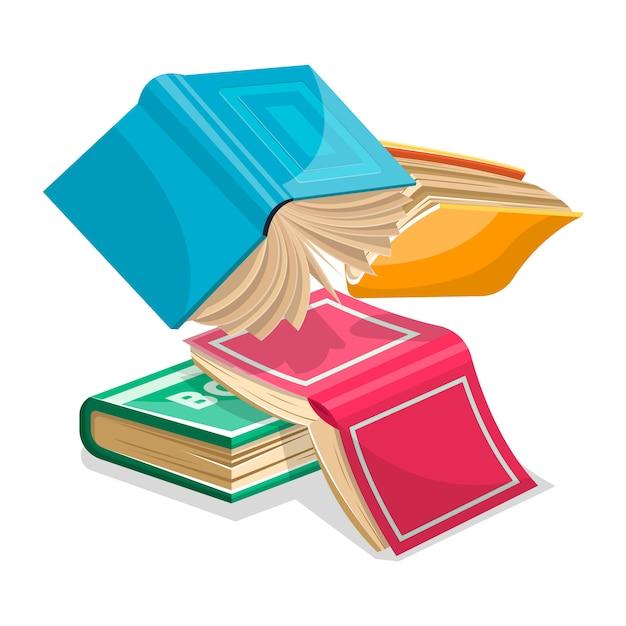 青、ピンク、緑、黄色の厚い本が落ちたり飛んだりしています。ヒープの概念に不要なもの。学校、カレッジ、大学での試験のために改訂。白の漫画イラスト。 Premiumベクター