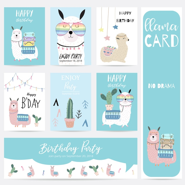 Blue pink hand drawn cute card with llama,glasses,cactus and hat Premium Vector
